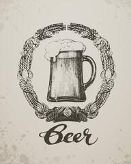 Beer. Sketch oktoberfest festival. Hand-drawn vector
