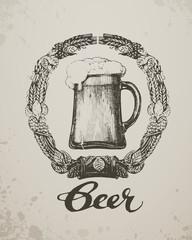Beer. Sketch oktoberfest festival. Hand-drawn vector