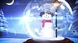 Snowman inside snow globe with magic christmas greeting