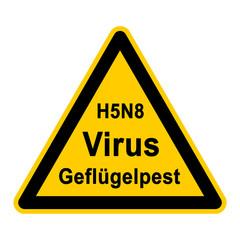 wso88 WarnSchildOrange - Symbol H5N8 Virus Geflügelpest - g2453