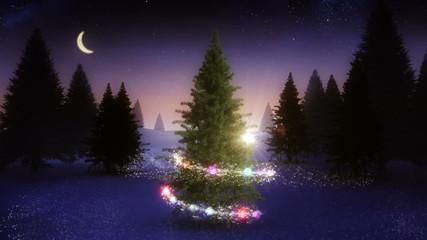 Magic light swirling around snowy christmas tree