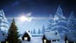 Magic light swirling around christmas tree with greeting