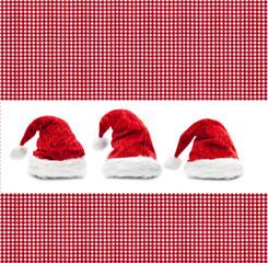 Rot Karierter Stoff mit  Weihnachtsmütze