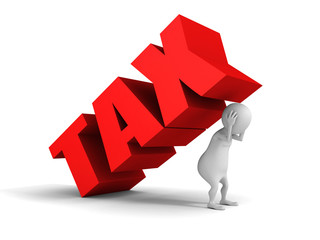 white 3d man Tax word pressure concept