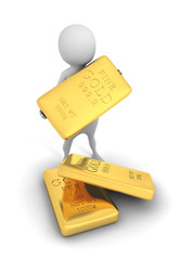 white 3d man holding a gold bar bullion