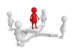 team leader in center of business 3d people group