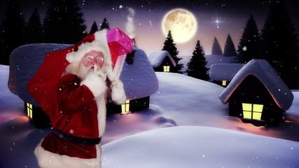Santa delivering presents to a snowy village