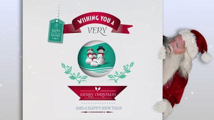 Santa peeking around a christmas card