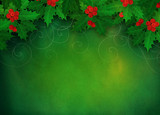 Christmas holly background.