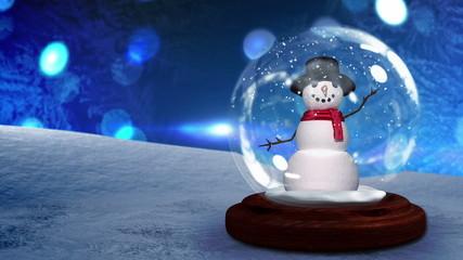 Snow man waving inside snow globe