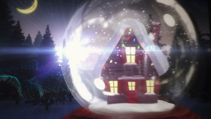 Cute christmas house inside snow globe with magic message