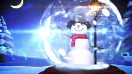 Snowman inside snow globe with magic german christmas greeting