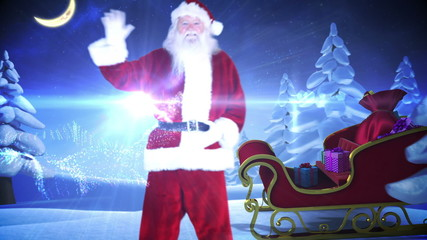 Santa and his sled with magical christmas greeting