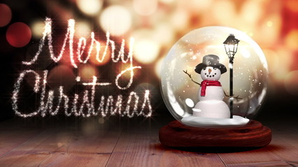 Snowman inside snow globe with christmas greeting
