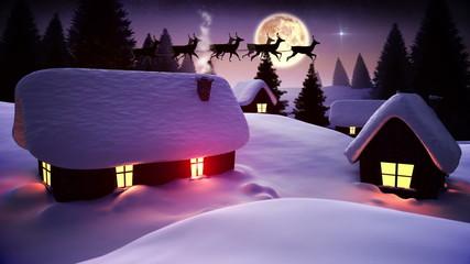 Santa flying over cute snowy village