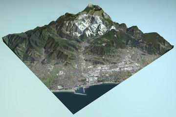 Carrara, vista satellitare, mappa, sezione, Toscana Italia
