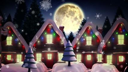 Santa delivering presents to christmas village