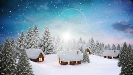 Snow falling on cute village in forest