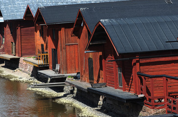 wooden barns near the river in the old town of Porvoo, Finland