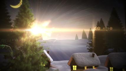 Magic light swirling around christmas tree in village