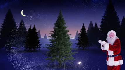 Santa making a magical christmas tree appear