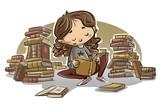 niña leyendo libros sentada