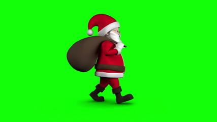 Cartoon Santa walking on green background