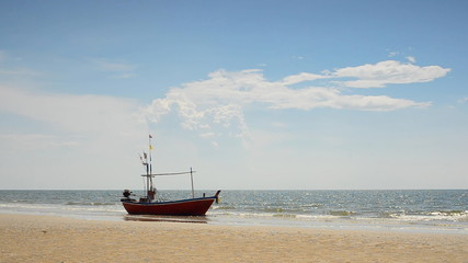 Local fishing boat at coast The Gulf of Thailand. HD