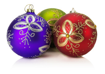 Christmas balls with golden ornament isolated on the white backg