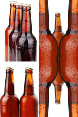 Glass of beer and a bottle of beer on white background