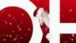 Santa peeking around frohe weihnachten on festive background
