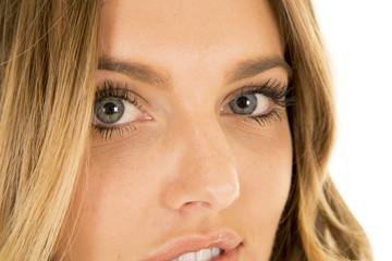 woman blond head close eye