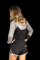 woman gray fitness on black back