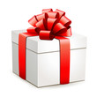 Geschenkbox mit roter Schleife - 72734778