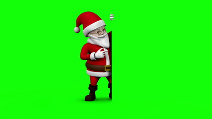 Cartoon santa presenting on green screen background