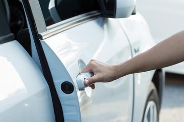 hand open door of auto car