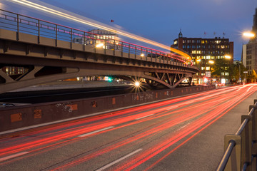 Light traces from cars and the subway