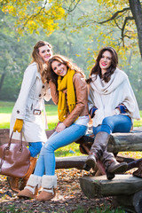 Three beautiful women enjoying and laughing in the park