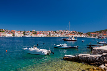 Panoramic view of boats in Mali Losinj  bay