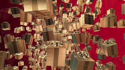 Golden Gift boxes on a red background