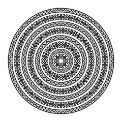 Monochromatic ethnic round texture on white