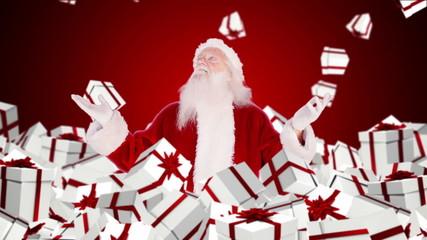 Santa claus under falling christmas gifts