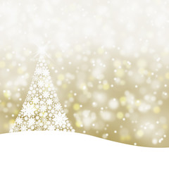 Snowy golden Christmas tree background