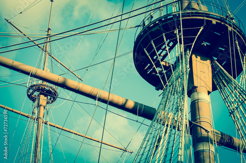 old pirate galleon with ship masts vintage style