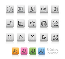 Media Center Icons - EPS with 5 colors in different layers