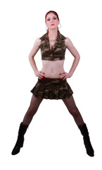 Red Headed Woman In Camouflage Outfit Standing