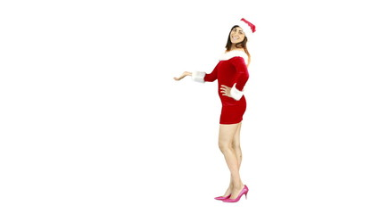 Pretty girl presenting in santa outfit
