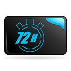 72 heures sur bouton web rectangle bleu