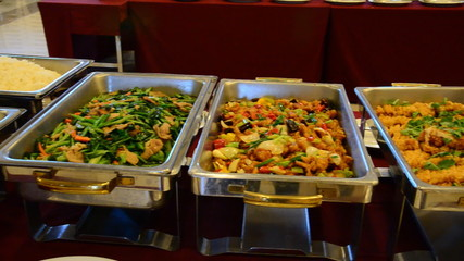 Multiple buffet items available for dinner. HD