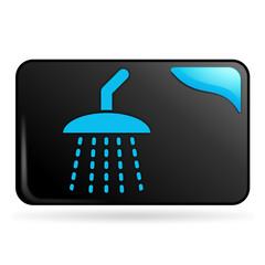 douche sur bouton web rectangle bleu